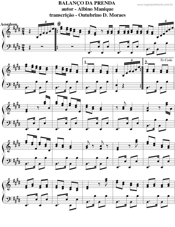 partituras balan 231 o da prenda manique sem