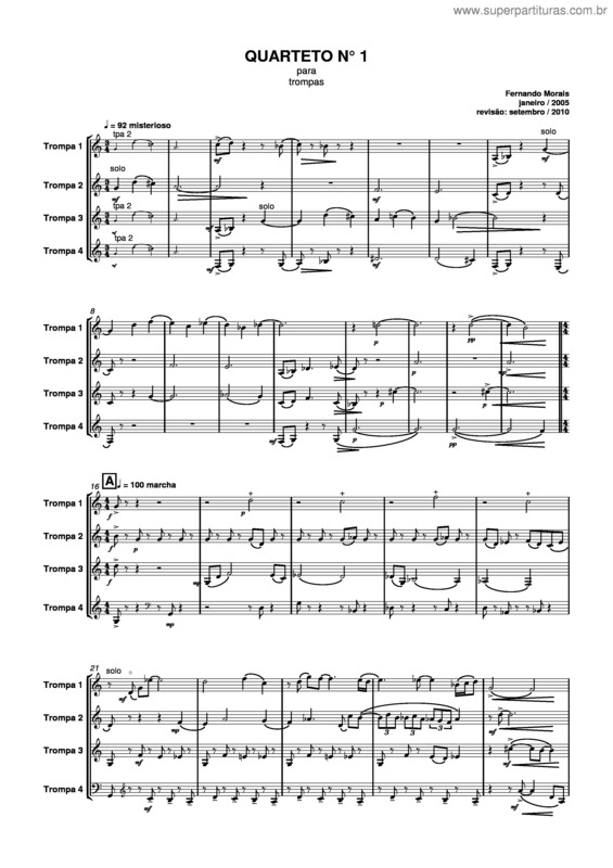 Super Partituras - Quarteto nº1 (Fernando Morais), com cifra