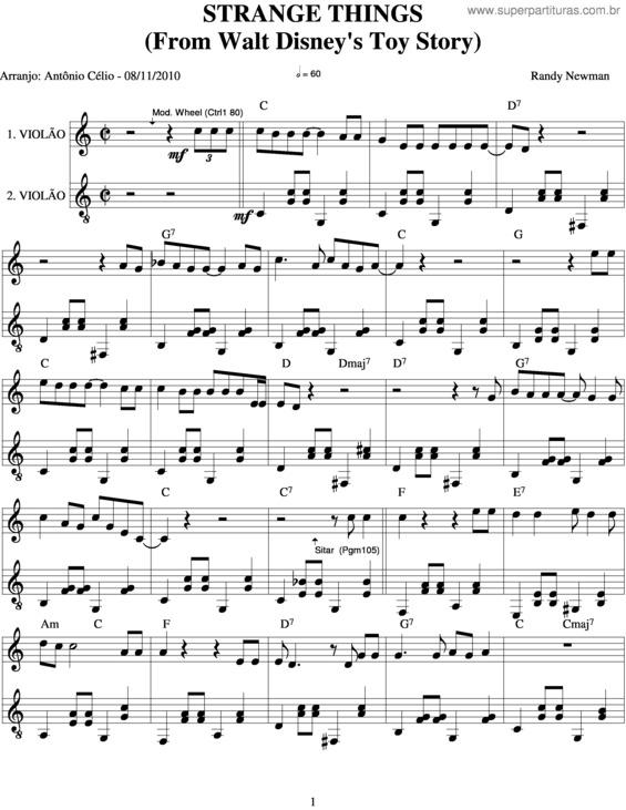 Super Partituras Strange Things Randy Newman Com Cifra