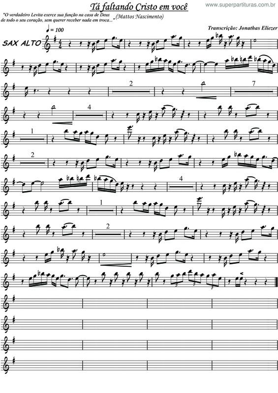 partituras t 225 faltando cristo em voc 234