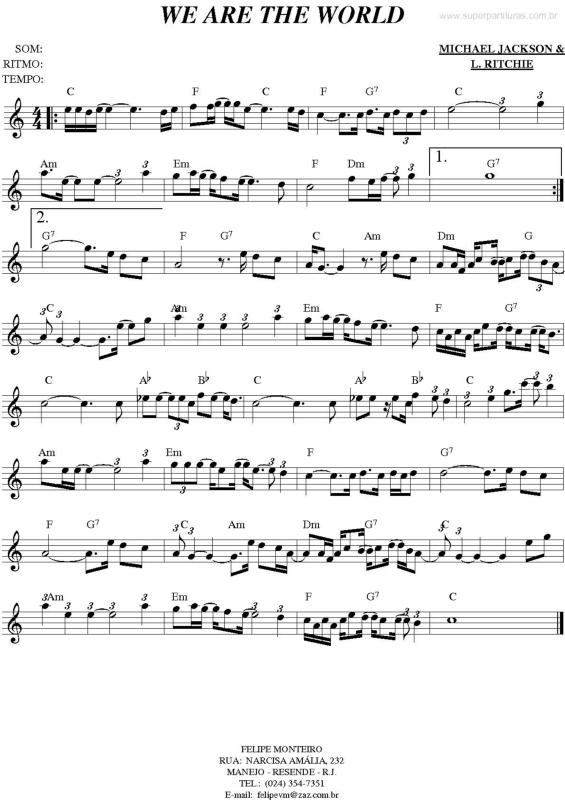 we are the world piano pdf